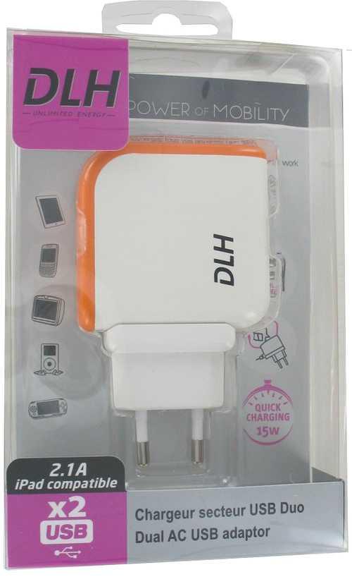 CHARGEUR SECTEUR UNIVERSEL 2 X USB 2.1A 15WATTS BLANC dy-au1302