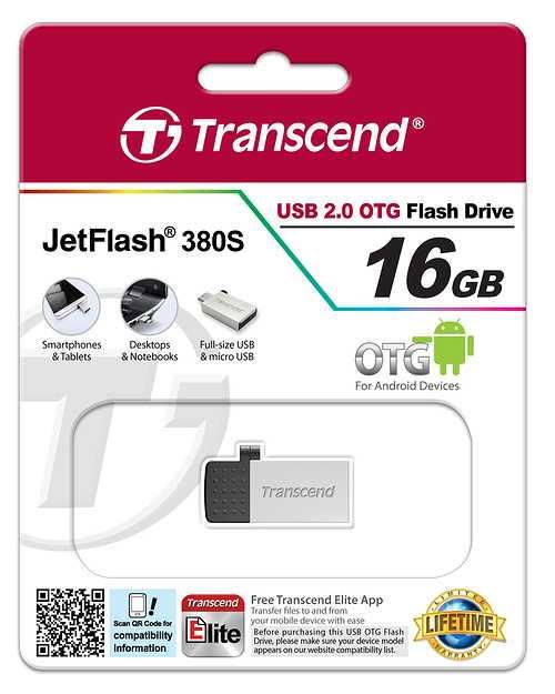 CLE USB 16 GO SERIE 380 SILVER USB 2.0 + OTG POUR TABLETTE ts16gjf380s