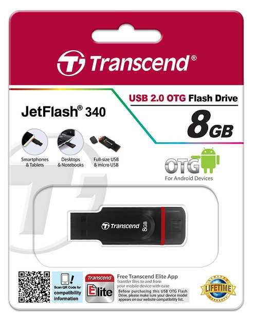 CLE USB 8G SERIE 340 NOIR USB 2.0 OTG ts8gjf340-3