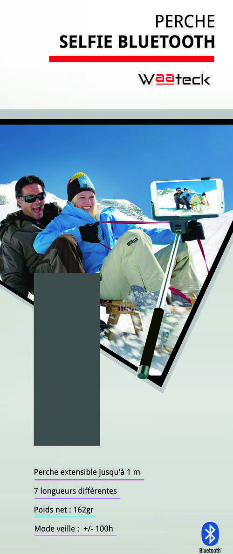 BRAS TELESCOPIQUE VIOLET BLUETOOTH SELFIE POUR SMARTPHONE packaging