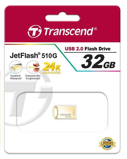 CLE USB 32 GO SERIE 510 OR USB 2.0 SANS CAPUCHON FORMAT MINI ts32gjf510g-2