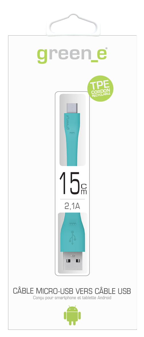 CORDON MICRO USB TPE XS 2,1A BLEU 15 CM gr1010-packinghd