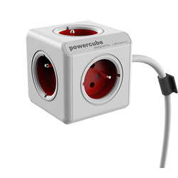 MULTIPRISE  POWERCUBE EXTENDED 5 PRISES FR ROUGE