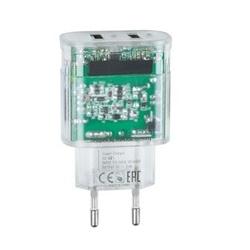 CHARGEUR SECTEUR 2 X USB 3.4A TRANSPARENT + CORDON MICRO USB