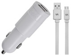 CHARGEUR VOITURE  2 X USB 3.4A BLANC + CORDON LIGHTNING MFI