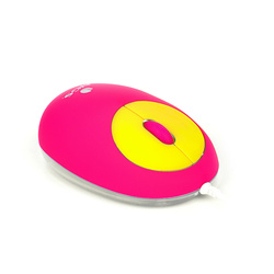 MINI SOURIS VIPMOUSE JAUNE / ROSE - FILAIRE - OPTIQUE - PORT USB