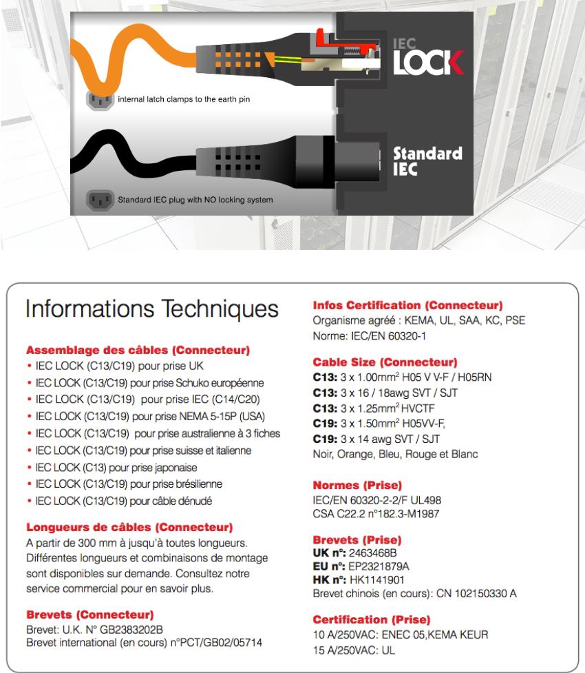IEC Périphériques connecteur Connecteurs c14 avec support de sauvegarde