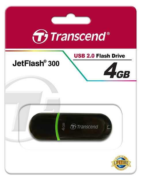 CLE USB 4GO SERIE 300 NOIR / VERT USB 2.0 ULTRA SPEED ts4gjf300