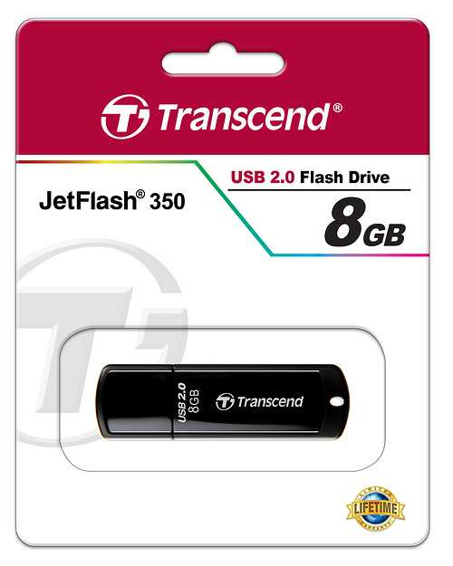 CLE USB 8GO SERIE 350 NOIR GLOSSY USB 2.0 ULTRA SPEED ts8gjf350