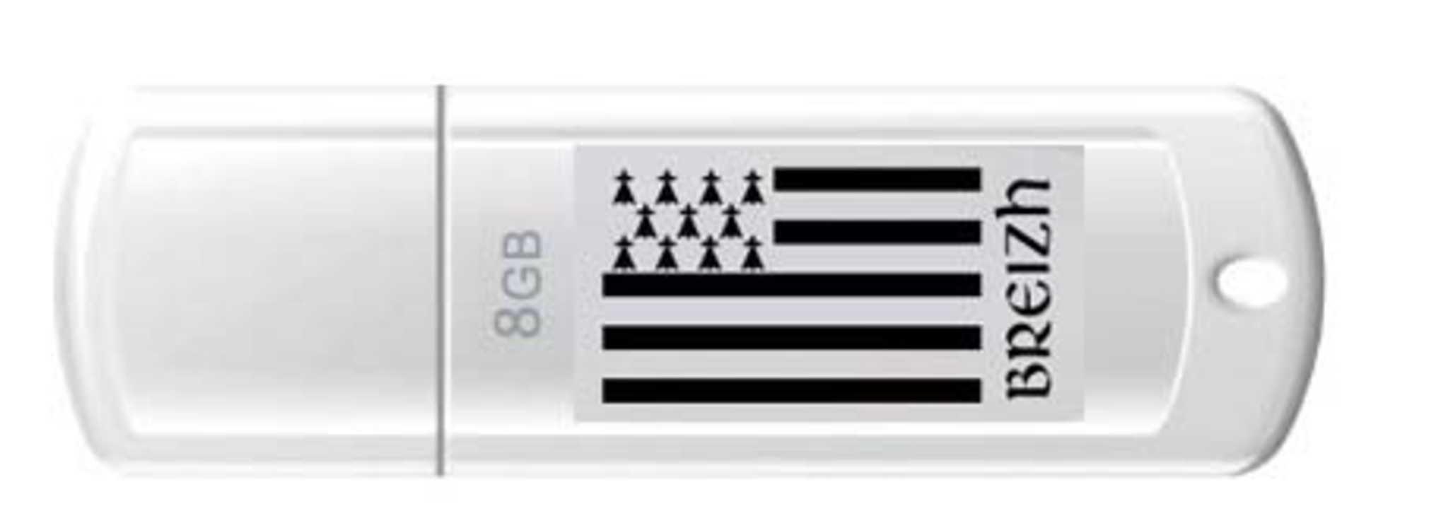 CLE USB 8 GO SERIE 370 BLANC GLOSSY USB 2.0 LOGO BZH 0