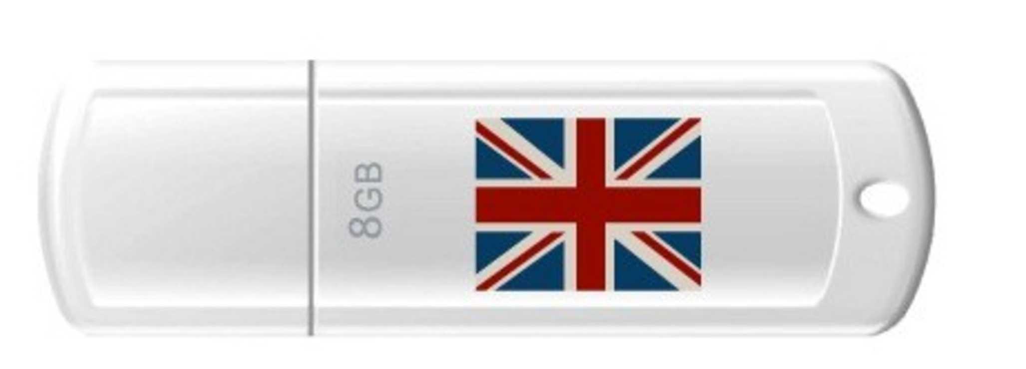 CLE USB 8 GO SERIE 370 BLANC USB 2.0 LOGO UNION JACK 0