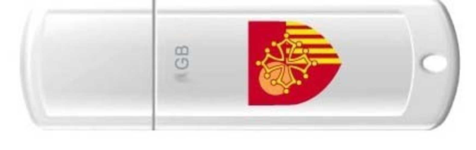 CLE USB 8 GO SERIE 370 BLANC USB 2.0 LOGO LANGUEDOC ROUSSILLON 0
