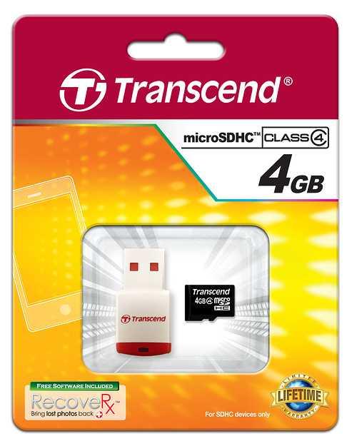 CARTE MEMOIRE MICRO SECURE DIGITAL 4GO CLASSE4 + LECTEUR DE CARTE ts4gusdhc4p3-2