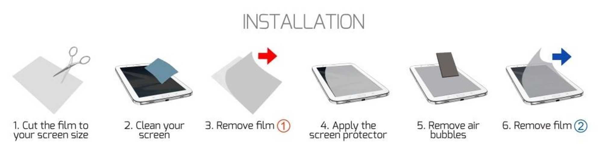 FILM DE PROTECTION ECRAN TABLETTE 7'''' UNIVERSEL 180641-180642-installation