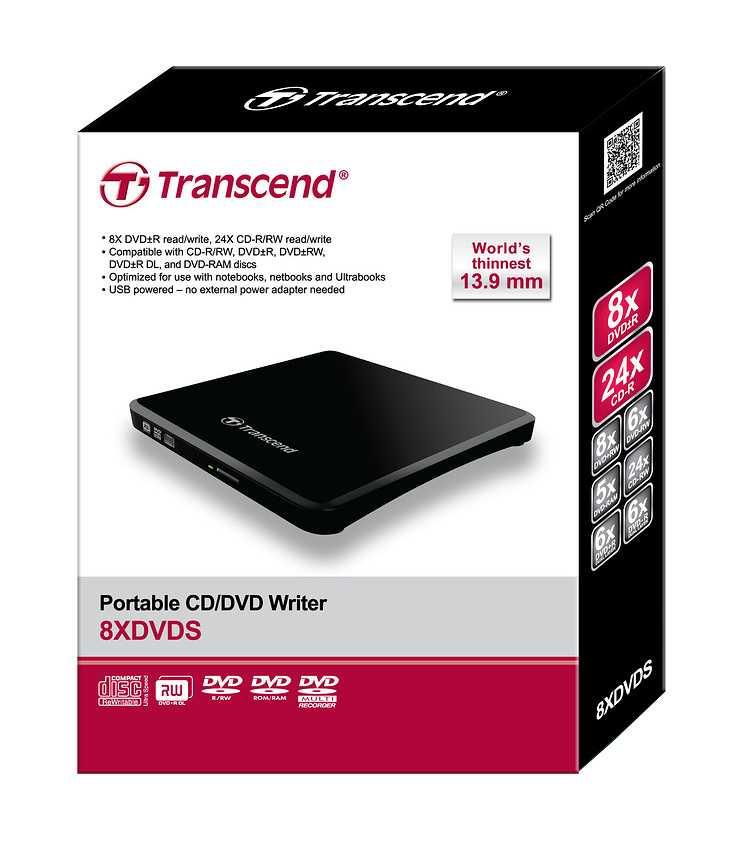 GRAVEUR DVD EXTERNE 8X SLIM DOUBLE COUCHE NOIR PORT USB 2.0 ts8xdvds-package