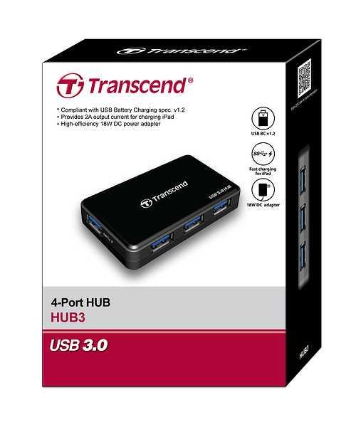 HUB 4 PORTS USB 3.0 NOIR + ALIMENTATION tshub3k