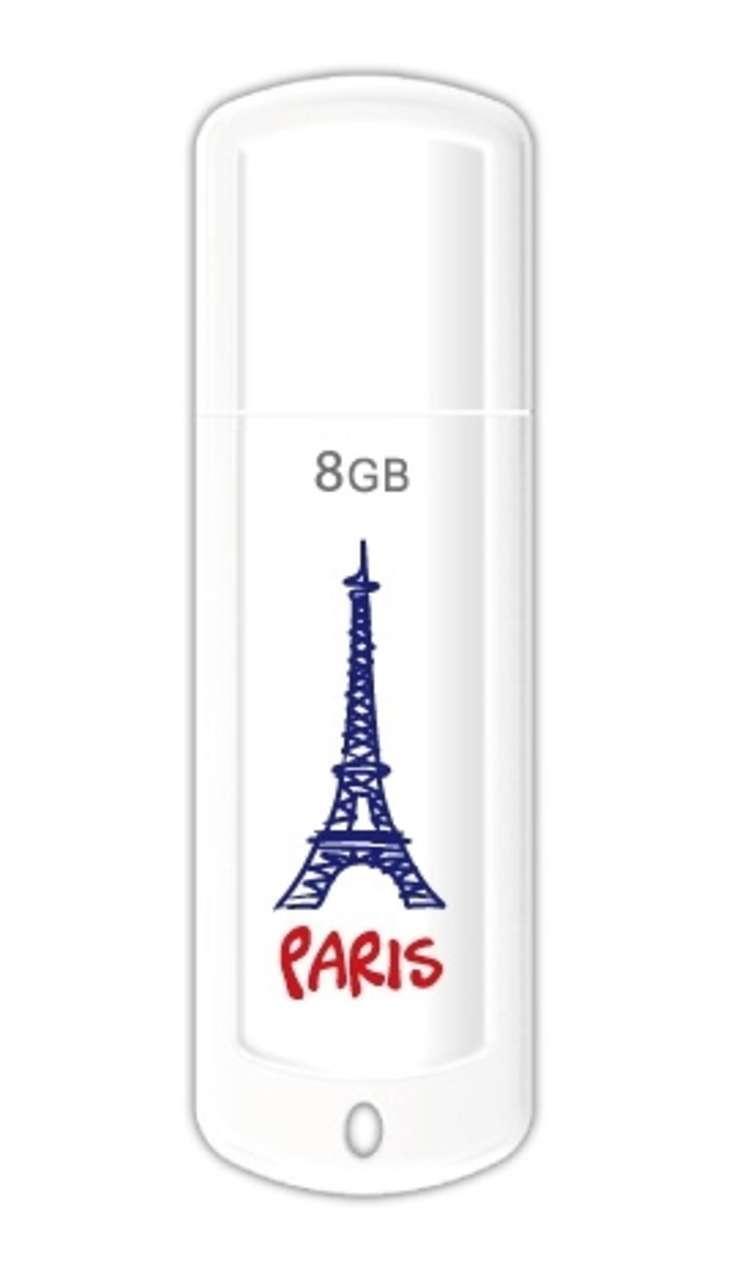 CLE USB 8 GO SERIE 370 BLANC GLOSSY USB 2.0 LOGO PARIS 0