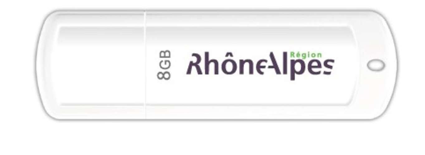 CLE USB 8 GO SERIE 370 BLANC GLOSSY USB 2.0 LOGO RHONE ALPES 0