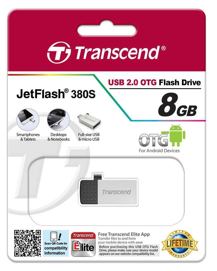 CLE USB 8 GO SERIE 380 SILVER USB 2.0 + OTG POUR TABLETTE ts8gjf380s-4