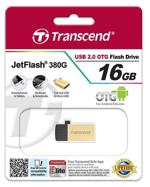 CLE USB 16 GO SERIE 380 GOLD USB 2.0 + OTG POUR TABLETTE ts16gjf380g