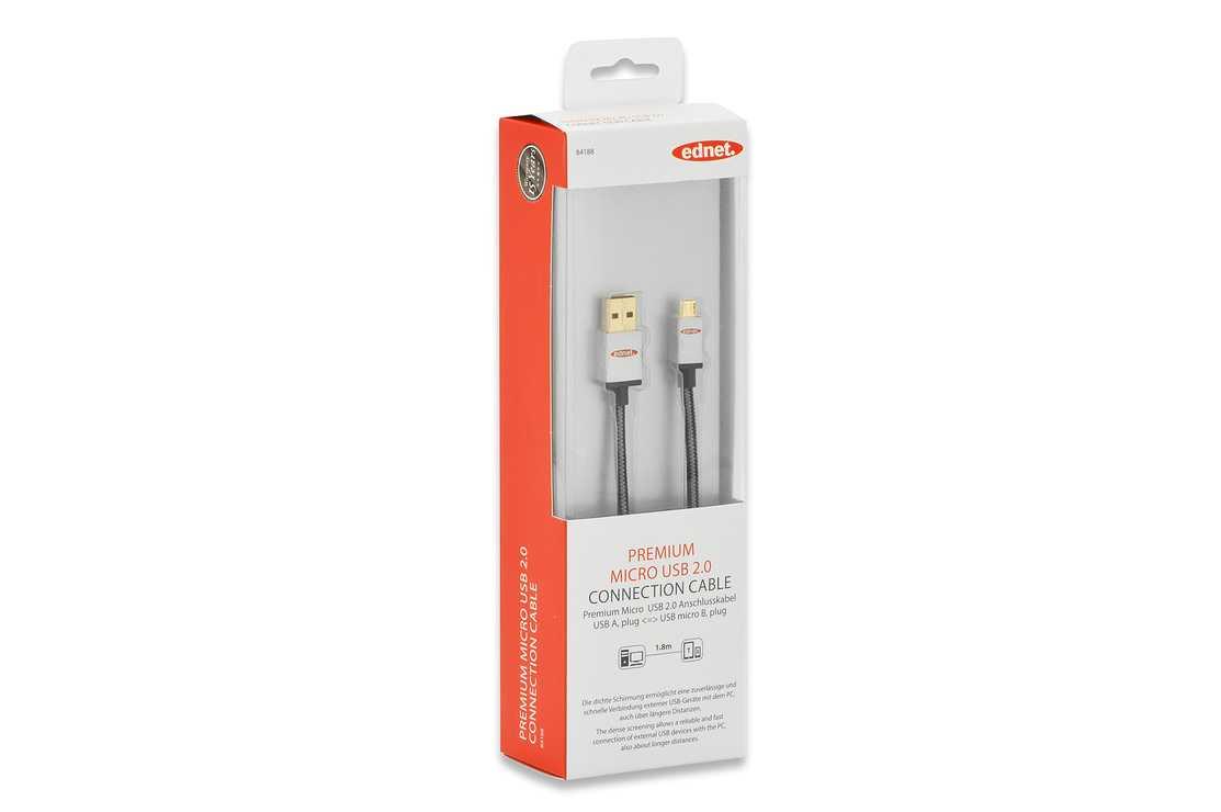 CORDON USB USB 2.0 A/M - MICRO USB B/M 1.80M GOLD 84188-2