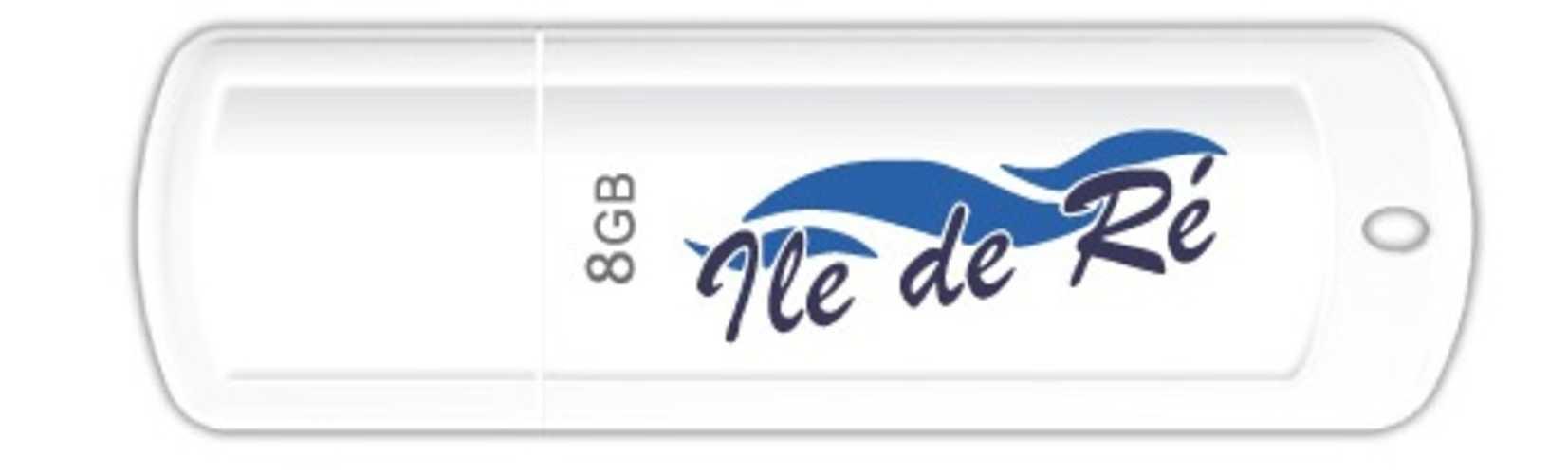 CLE USB 8 GO SERIE 370 BLANC GLOSSY USB 2.0 LOGO ILE DE RE 0