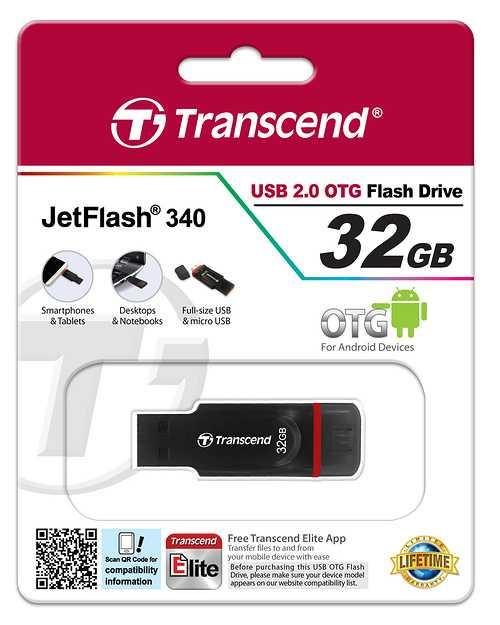 CLE USB TRANSCEND 32G SERIE 340 NOIR USB 2.0 OTG ts32gjf340-3