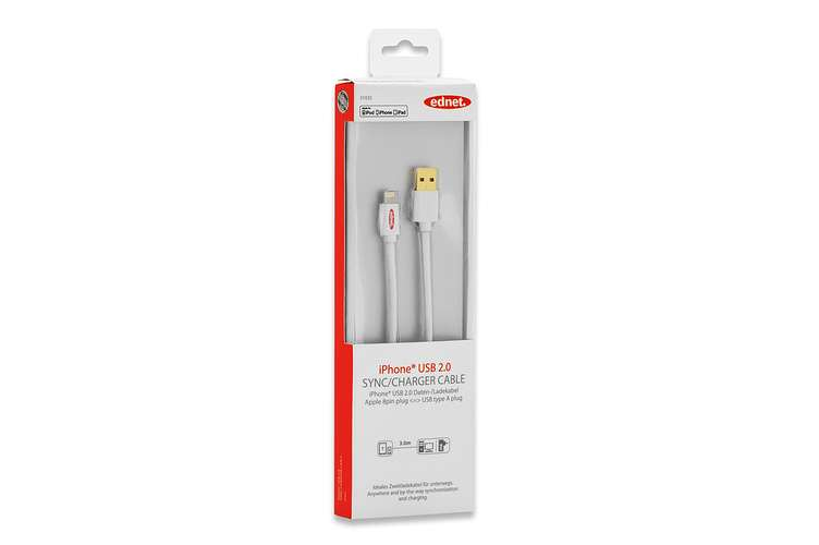 CORDON SYNCHRONISATION ET CHARGE IPOD / IPHONE DONT 5/ IPAD BLANC 3M 31035-1