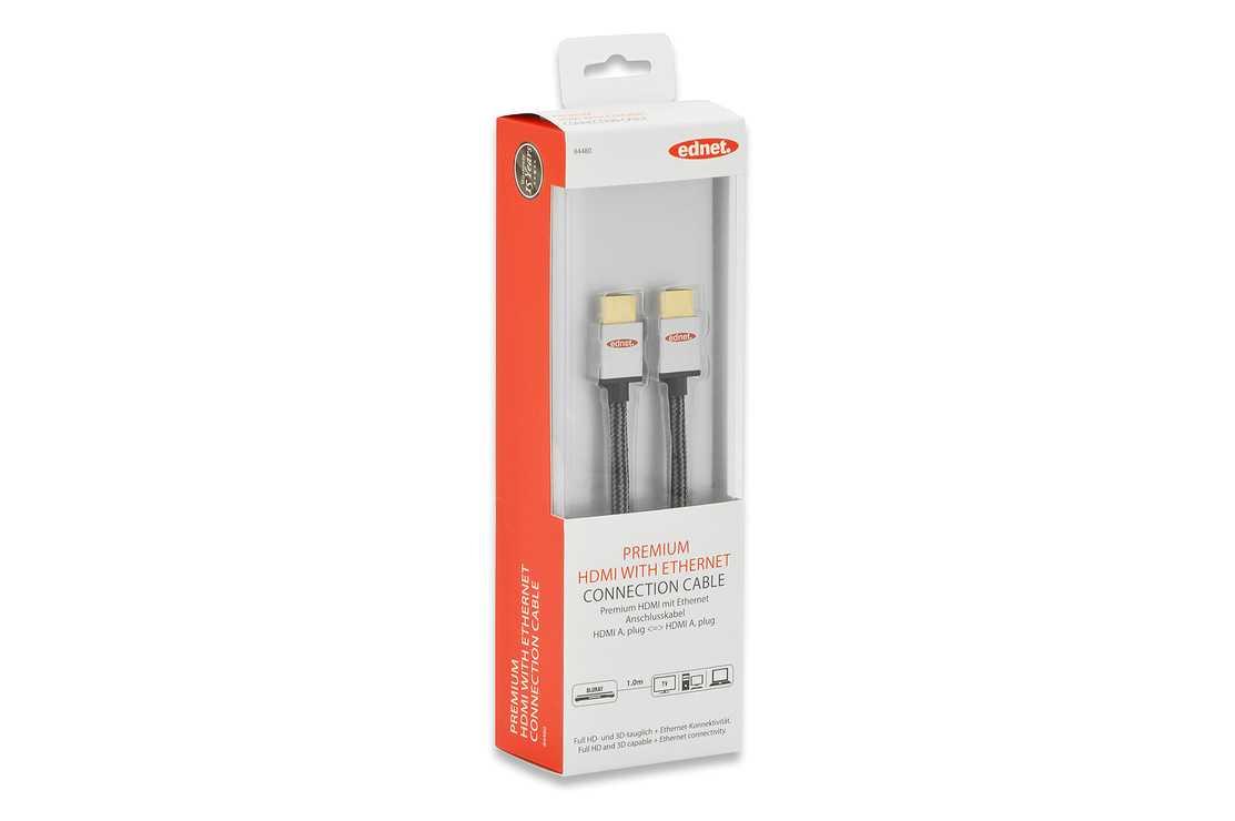 CORDON HDMI HAUTE VITESSE A/A M/M ULTRA HD 3D ETHERNET PREMIUM 1M 84480-1