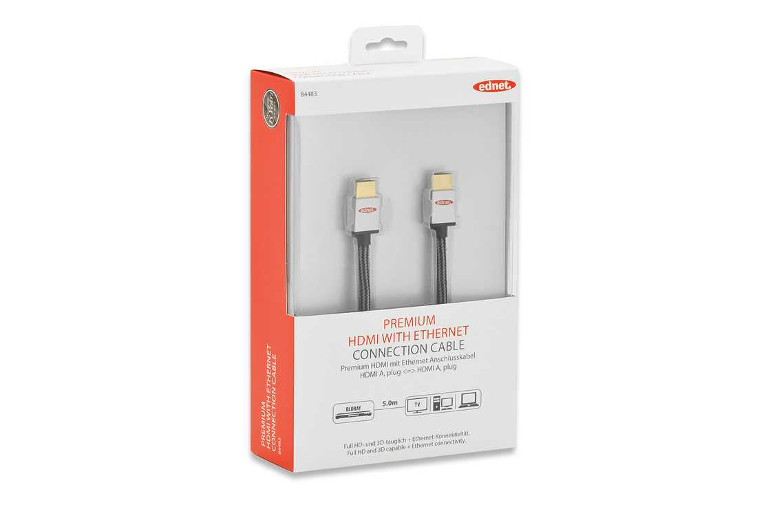 CORDON HDMI HAUTE VITESSE A/A M/M ULTRA HD 3D ETHERNET PREMIUM 5M 84483-1