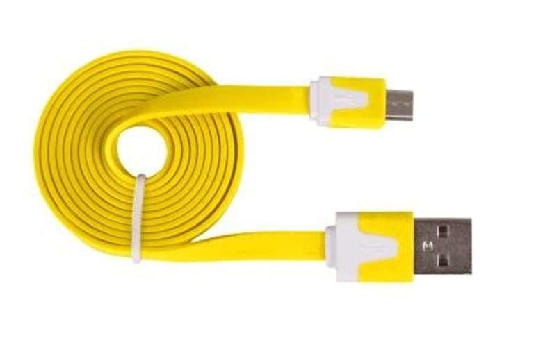 CORDON PLAT SYNCHRONISATION ET CHARGE USB/MICRO USB 1M JAUNE 0