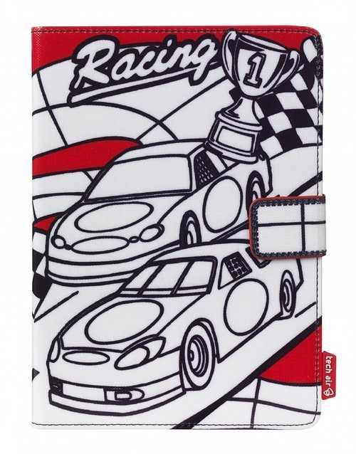 """ETUI TABLETTE 7"""" RACING CARS A COLORIER + 3 FEUTRES INCLUS taukt005"""