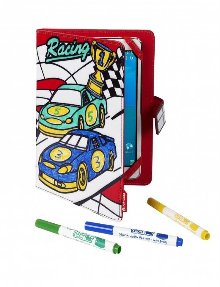 """ETUI TABLETTE 7"""" RACING CARS A COLORIER + 3 FEUTRES INCLUS 0"""