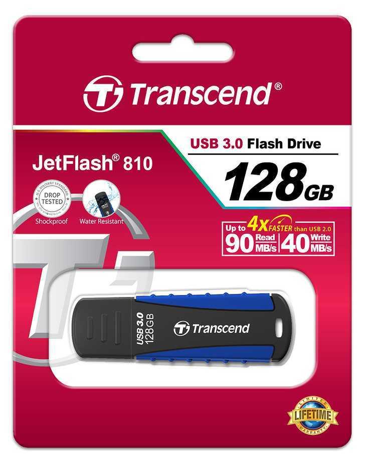 CLE USB TRANSCEND 128GO SERIE 810 ANTI CHOC USB 3.0 BLEU ts128gjf810-2