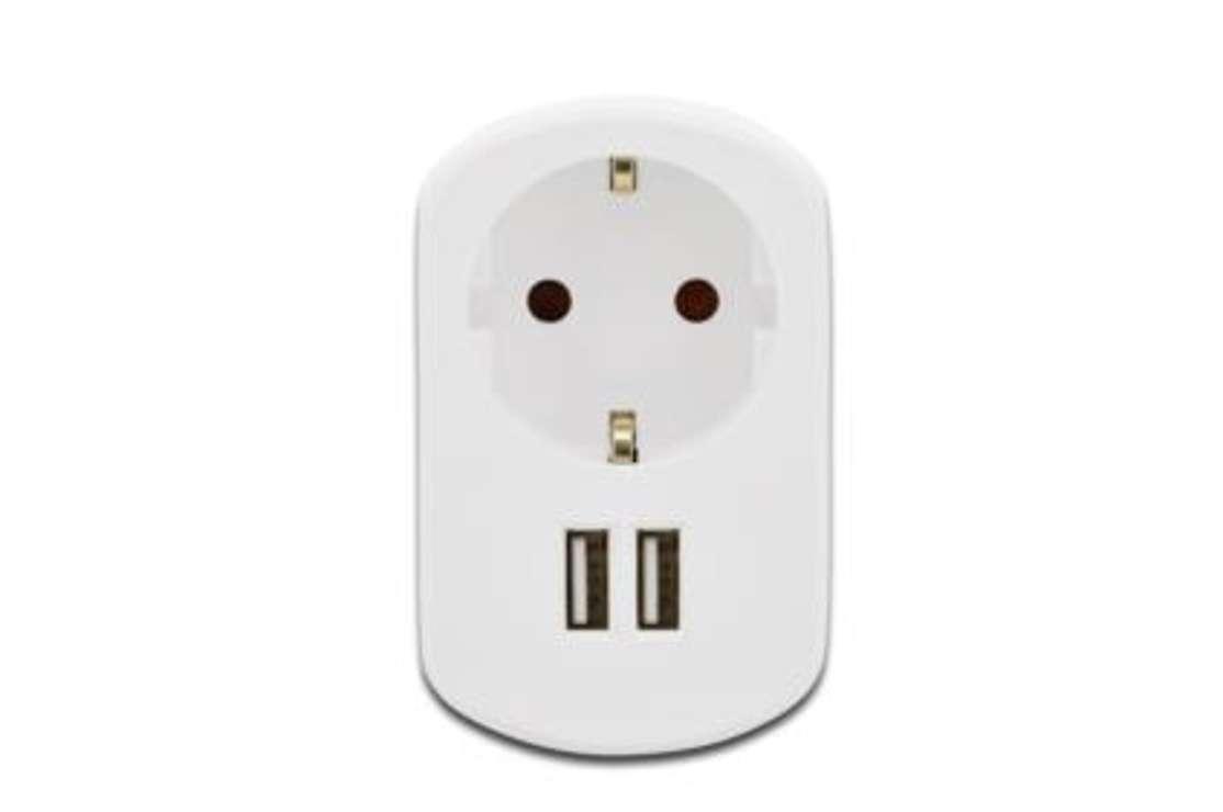 CHARGEUR SECTEUR USB SCHUKO + 2 X USB (1X1A + 1X2,1A) 31804-1fr