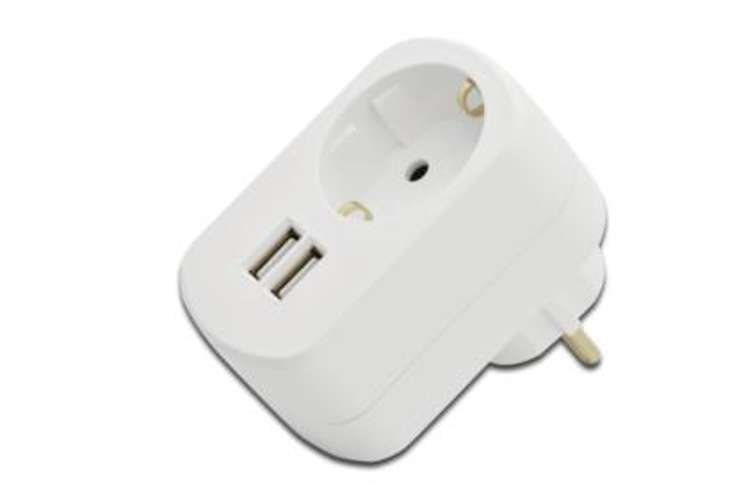 CHARGEUR SECTEUR USB SCHUKO + 2 X USB (1X1A + 1X2,1A) 0