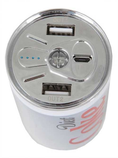 BATTERIE DE SECOURS COCA-COLA ZERO 2 X USB 1A + 2,1 A 10400 MAH visudetailproduit
