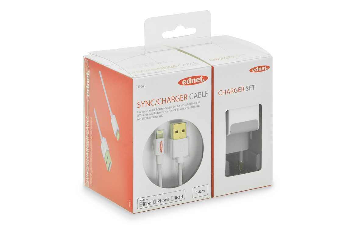 CHARGEUR SECTEUR AVEC CABLE DE CHARGEMENT IPHONE 1M PORT USB 0