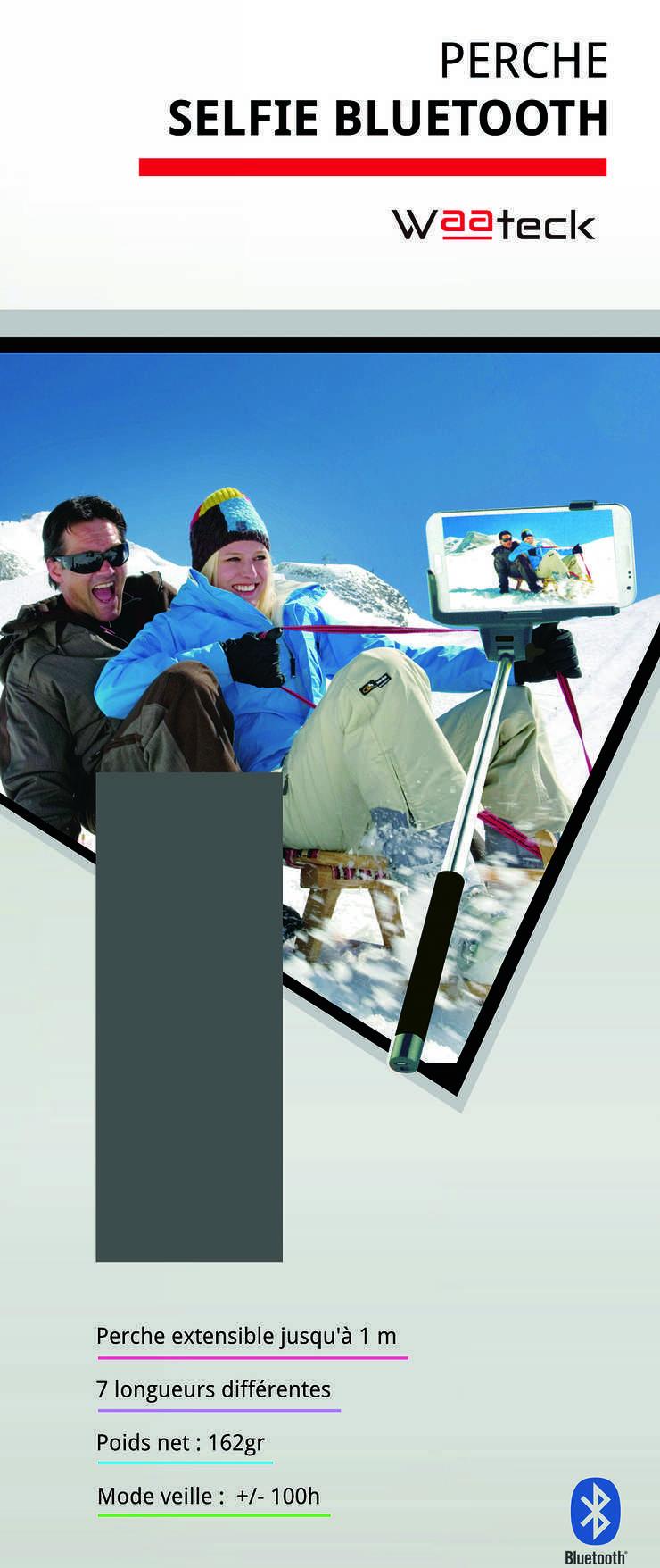 BRAS TELESCOPIQUE VERT FLUO BLUETOOTH SELFIE POUR SMARTPHONE packaging