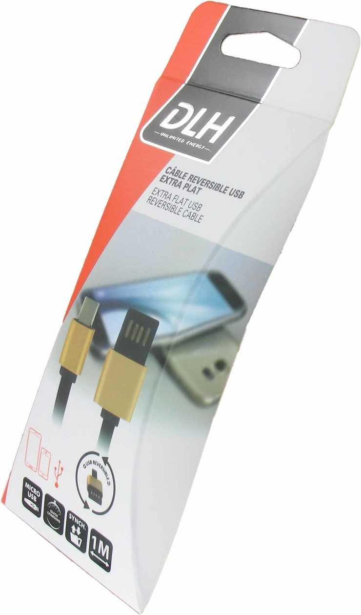 CORDON USB REVERSIBLE USB / MICRO USB 1M NOIR dy-tu2140b-box