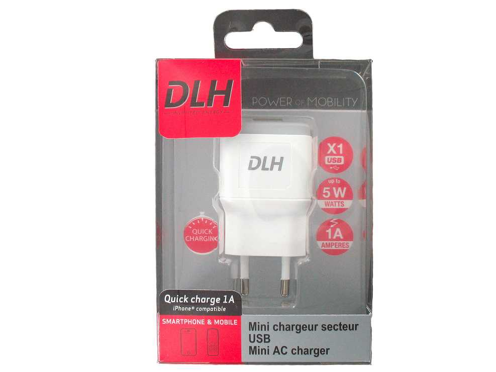 CHARGEUR SECTEUR UNIVERSEL 1 X USB 1A - 5 WATTS BLANC dy-au2160w-pack-face