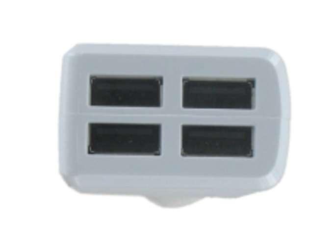 CHARGEUR VOITURE UNIVERSEL 4 X USB 4.8A 24WATTS BLANC dy-au2324w-usbcopie