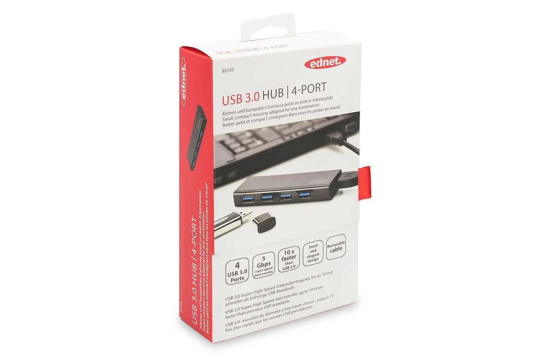 HUB 4 PORTS USB 3.0 NOIR AVEC ALIMENTATION 85155p