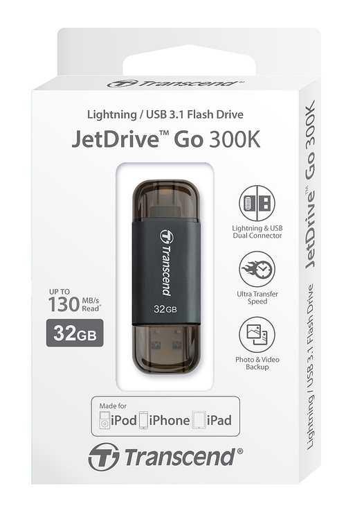 CLE USB OTG 32GO SERIE 300 NOIR LIGHTNING USB 3.1 PR APPLE ts32gjdj300k-2