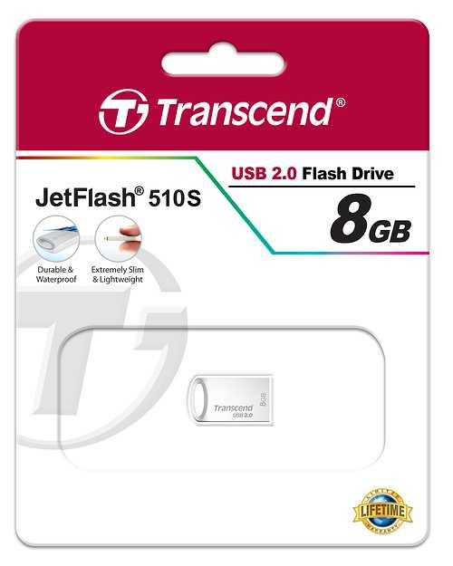 CLE USB 8 GO SERIE 510 ARGENT USB 2.0 SANS CAPUCHON FORMAT MINI ts8gjf510s