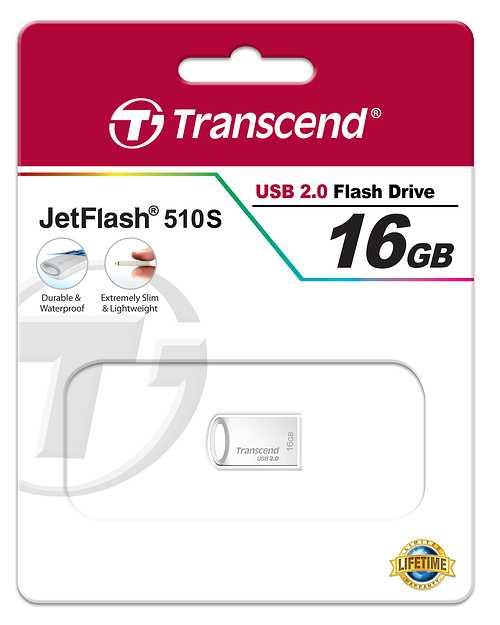 CLE USB 16 GO SERIE 510 ARGENT USB 2.0 SANS CAPUCHON FORMAT MINI ts16gjf510s-2