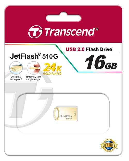 CLE USB TRANSCEND 16 GO SERIE 510 OR USB 2.0 SANS CAPUCHON FORMAT MINI ts16gjf510g-2