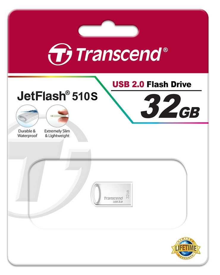 CLE USB 32 GO SERIE 510 ARGENT USB 2.0 SANS CAPUCHON FORMAT MINI ts32gjf510s-2