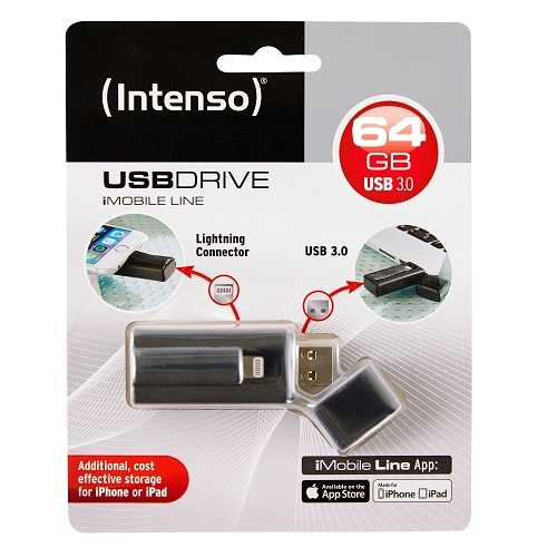 CLE USB 64GO SERIE IMOBILE NOIR LIGHTNING USB 3.0 3535490