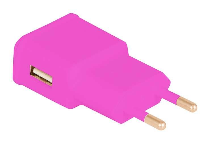 CHARGEUR SECTEUR 1 X USB 1A ROSE 0